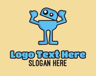 Funny - Blue Monster Thumbs Up logo design