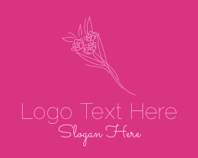 Bouquet - Pink Bouquet Line Art logo design