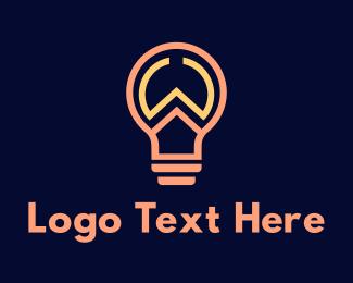 Flashlight - Outline W Light Bulb logo design