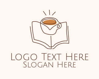 Review Center - Coffee Library Line Art logo design