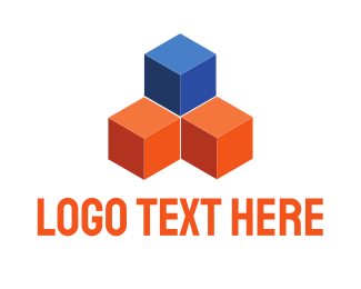 Removalist - Blue & Orange Cubes logo design