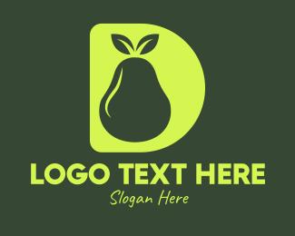 Pear - Green Pear D logo design