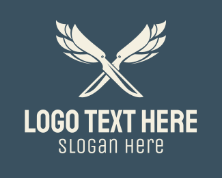 Meat Shop - White Knife Wings logo design