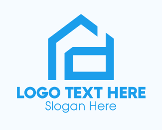 Neighbor - Blue Housing Letter D logo design