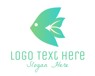 Green Fish - Fish Leaf logo design