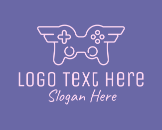 Controller Pad - Winged Game Controller logo design