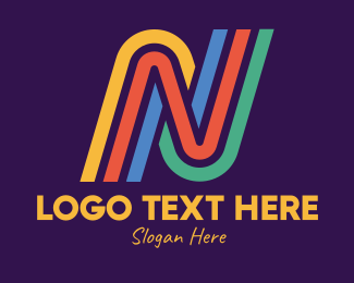 Lines - Colorful Retro Lines Letter N logo design