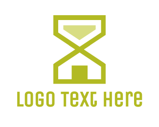 Yellow House - Hourglass House logo design