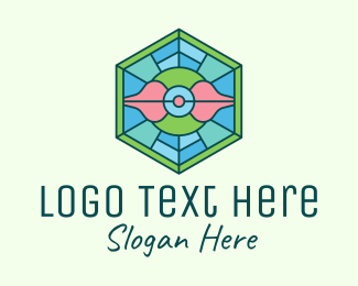 Feng Shui - Hexagonal Rose Stained Glass logo design