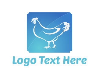 Hen - Blue Chicken logo design