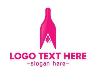 Alcoholic - Magenta Wine Mountain logo design