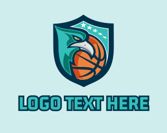 Basketball Court - Basketball Eagle Mascot  logo design