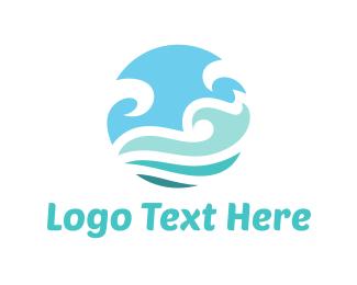 Island - Ocean Circle logo design