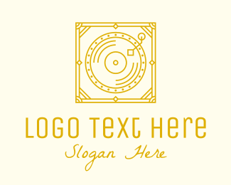 Classical Music - Gold Retro Music Gramophone logo design
