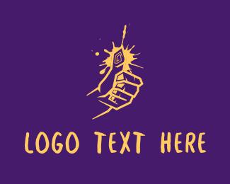Thumb - Yellow Graffiti Thumbs Up logo design