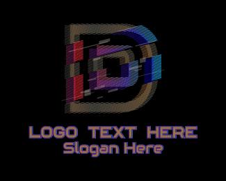 Gradient Glitch Letter D Logo