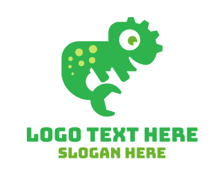 Iguana - Green Lizard Repair logo design