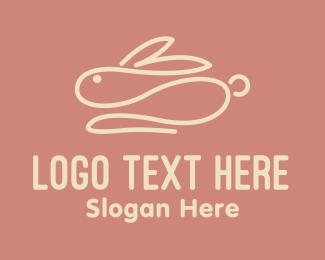 Egg Hunting - Pink Bunny Monoline logo design