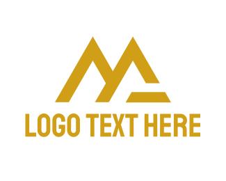 Mv - Gold MG Tech logo design