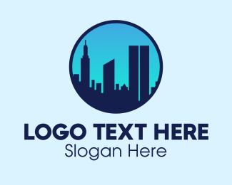 States - Manhattan NY Skyline logo design