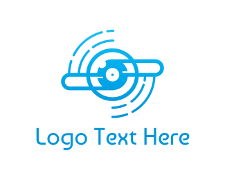 Turbine - Blue Propeller Outline logo design
