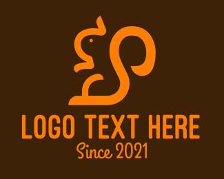 Tree Squirrel - Orange Line Art Squirrel logo design