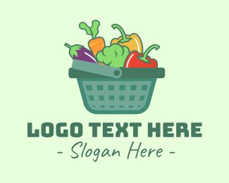 Eggplant - Vegetable Grocery Basket logo design