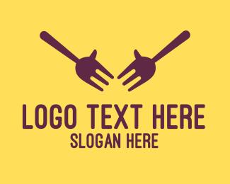 Hungry - Fork Hands logo design