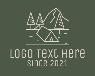 Accommodation - Nature Glamping Line Art logo design