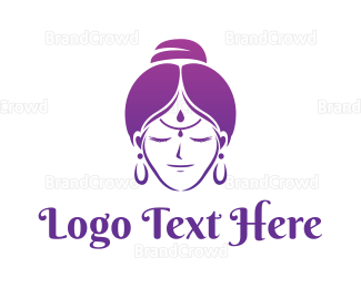 Buddhism - Indian Woman logo design