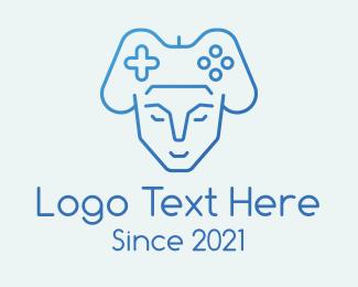 Mecha - Blue Humanoid Gamer logo design