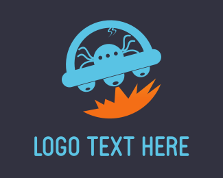 Internet Web Blue Alien Ufo logo design