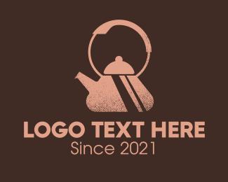 Tea Pot - Brown Rustic Kettle  logo design