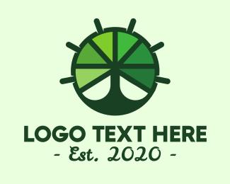 Steering Wheel - Green Steering Wheel Tree logo design