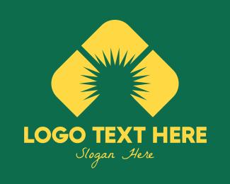 Landmass - Yellow Mountain Sunrise logo design
