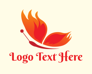Moth - Flaming Butterfly logo design