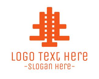 Train - Orange Abstract Film logo design