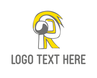 Headphone - Yellow Letter R logo design