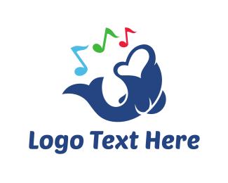 Trumpet - Singer Fish logo design
