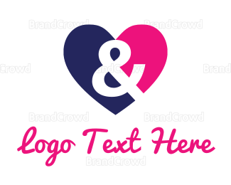 Blue And Pink -  Love & Heart logo design