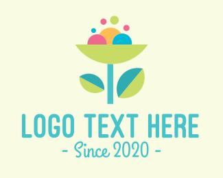 Multicolored - Cute Multicolored Flower  logo design