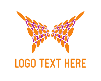 Virtual Reality - Orange Abstract Butterfly logo design