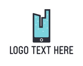 Smartphone - City & Phone logo design