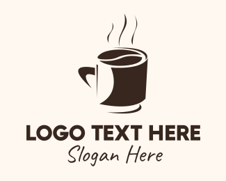 Brown Coffee Bean - Coffee Bean Cup logo design