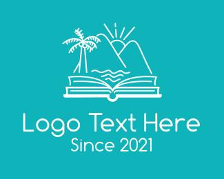 Island Living - Tropical Vacation Book Reading logo design