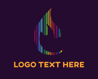 Line - Colorful Flame logo design