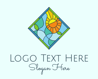 Scenery - Summer Leaf Stained Glass logo design