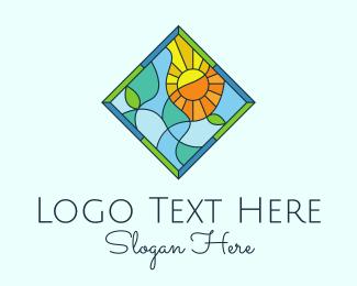 Framing - Summer Leaf Stained Glass logo design