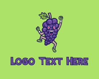Fresh Produce - Happy Grape Bunch logo design