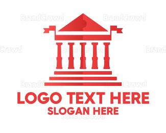 European - Red Greek Parthenon logo design